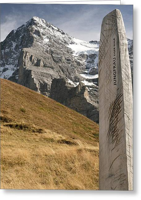 Trail Sign With Mt Eiger Greeting Card by Panoramic Images