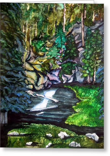 Greeting Card featuring the painting Trail To Broke-off by Lil Taylor