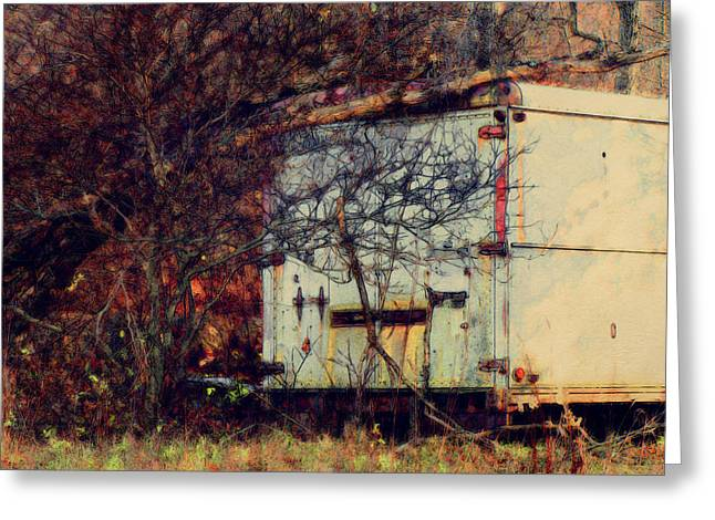 Trailer In The Woods Greeting Card by David Blank