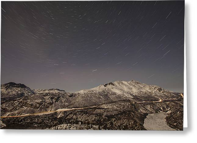 Trails Of Light Greeting Card by Tim Grams