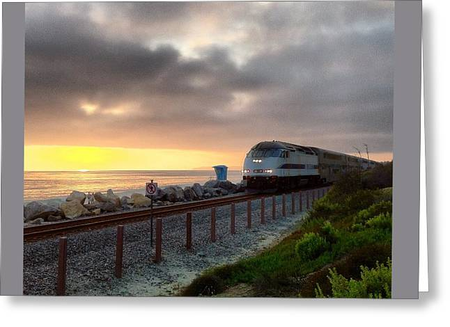 Train And Sunset In San Clemente Greeting Card