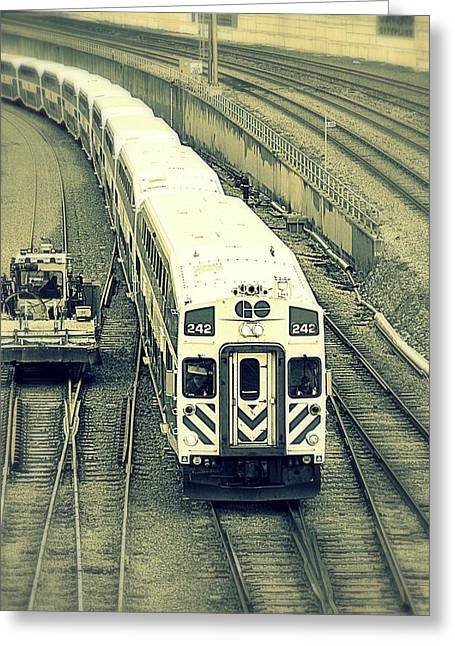 Train Approaching Greeting Card by Valentino Visentini