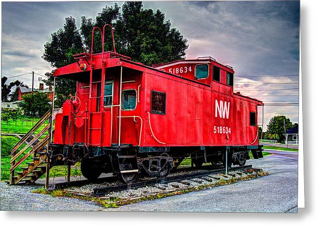 Train Caboose Greeting Card by Valerie Cason