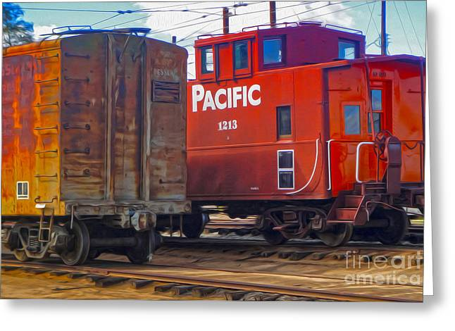 Train Car And Caboose Greeting Card