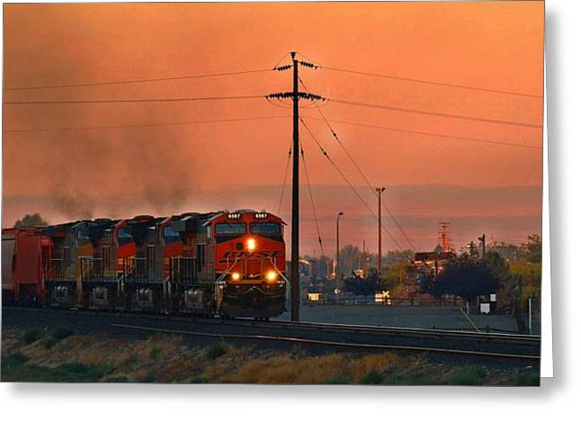 Greeting Card featuring the photograph Train Coming Through by Lynn Hopwood