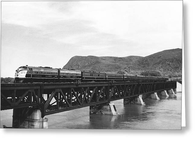 Train Crossing A Trestle Greeting Card by Underwood Archives