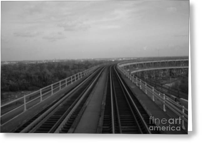 Train Crossing Bw Greeting Card by Joseph Baril