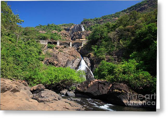 Train Crossing Dudhsagar Falls Greeting Card by Deborah Benbrook