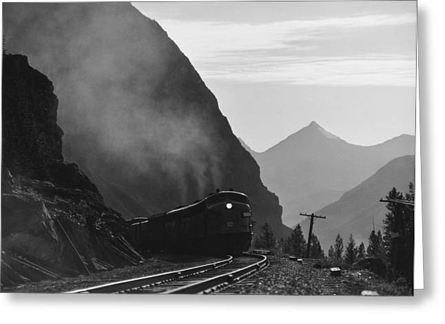 Train In Canadian Rockies Greeting Card