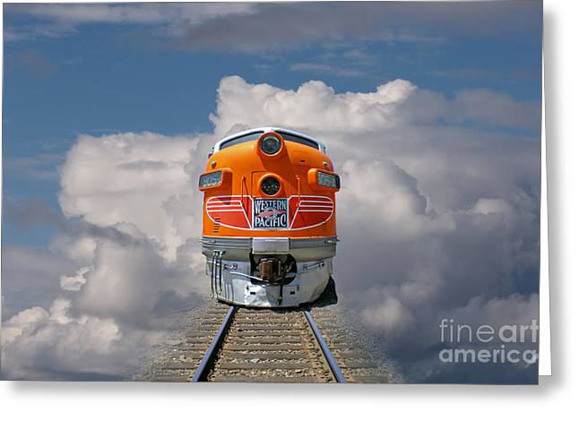 Train In Clouds Greeting Card by Ron Sanford