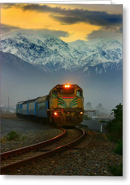 Train In New Zealand Greeting Card by Amanda Stadther