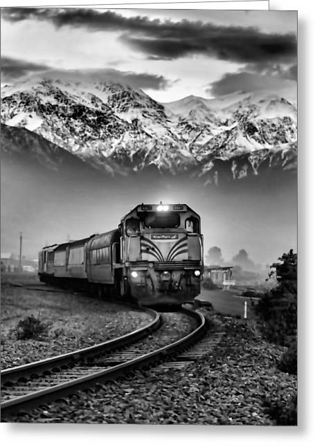 Train In New Zealand In Black And White Greeting Card by Amanda Stadther