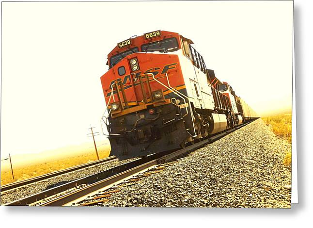 Train In The Desert Greeting Card