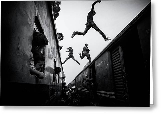 Train Jumpers Greeting Card