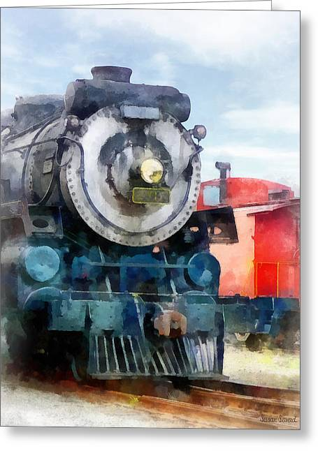 Train - Locomotive And Caboose Greeting Card by Susan Savad