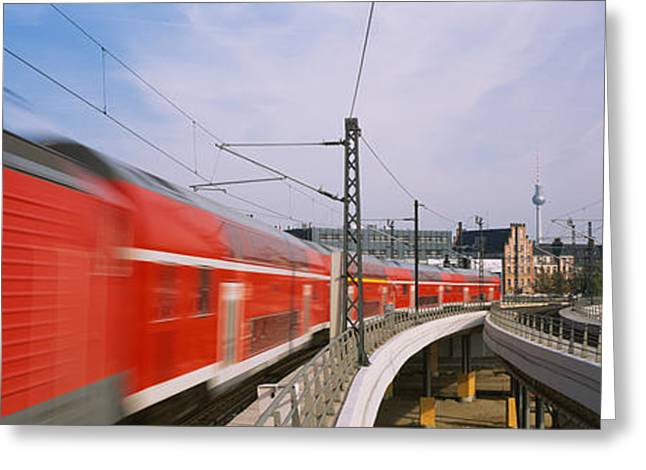 Train On Railroad Tracks, Central Greeting Card by Panoramic Images