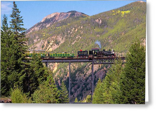 Train Over The Trestle Greeting Card