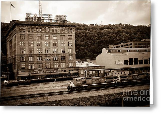 Train Passes Station Square Pittsburgh Antique Look Greeting Card by Amy Cicconi