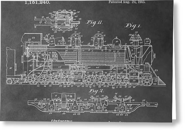 Train Patent Greeting Card by Dan Sproul