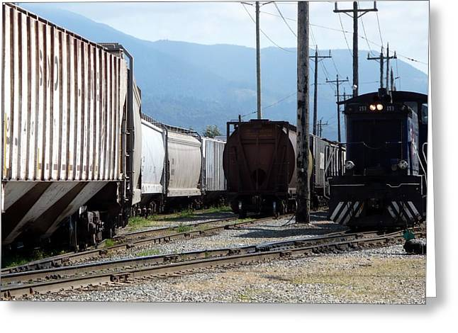 Train Shunting Station Greeting Card by Nicki Bennett