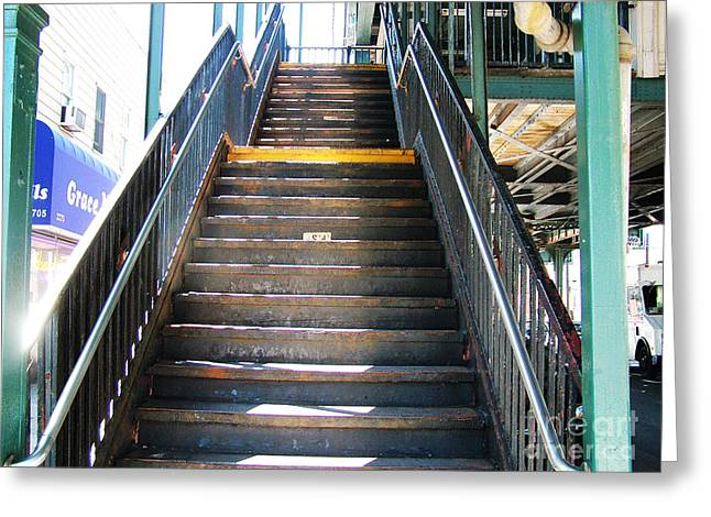 Train Staircase Greeting Card