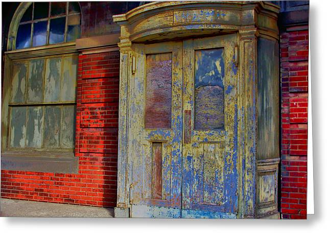 Train Station Door With Widow Greeting Card by William Rockwell