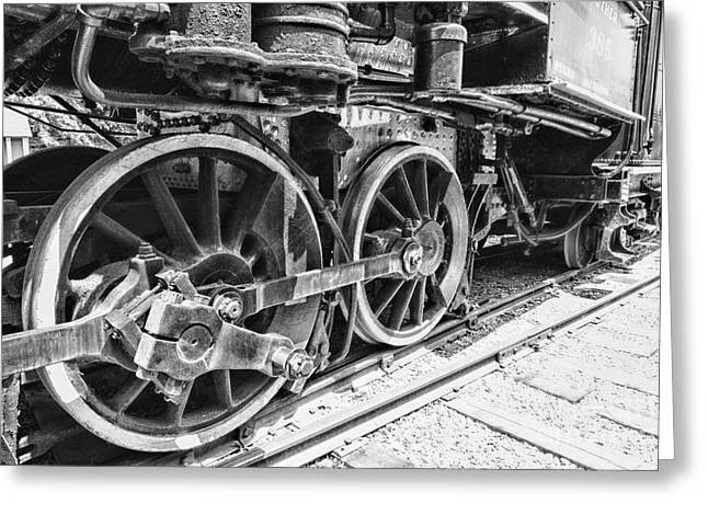 Train - Steam Engine Wheels - Black And White Greeting Card by Paul Ward