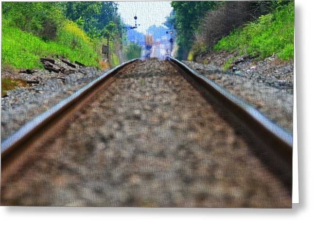 Train Track Canvas Greeting Card by Dan Sproul