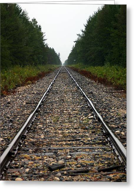 Train Track Vanishing Greeting Card by Kevin Snider