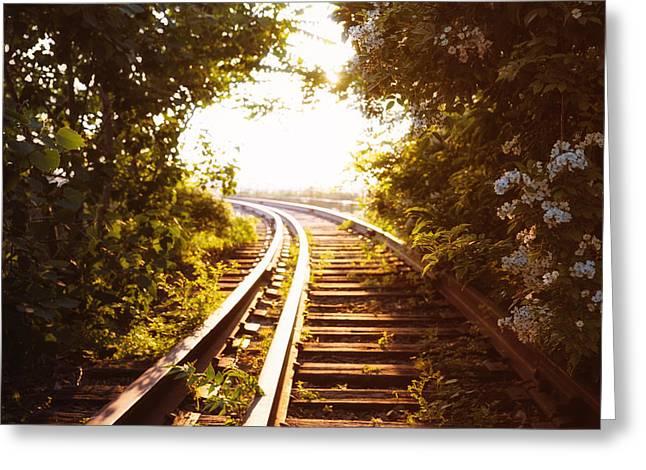 Train Tracks At Sunset Greeting Card