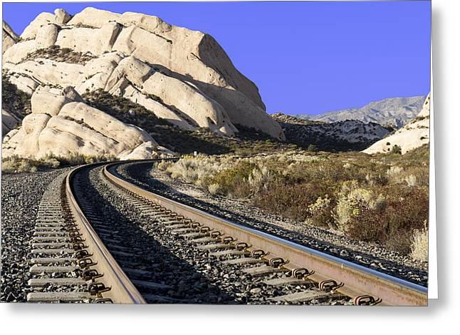 Railroad Tracks At The Mormon Rocks Greeting Card