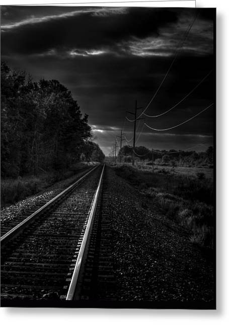 Train Tracks To Town Greeting Card by Thomas Young