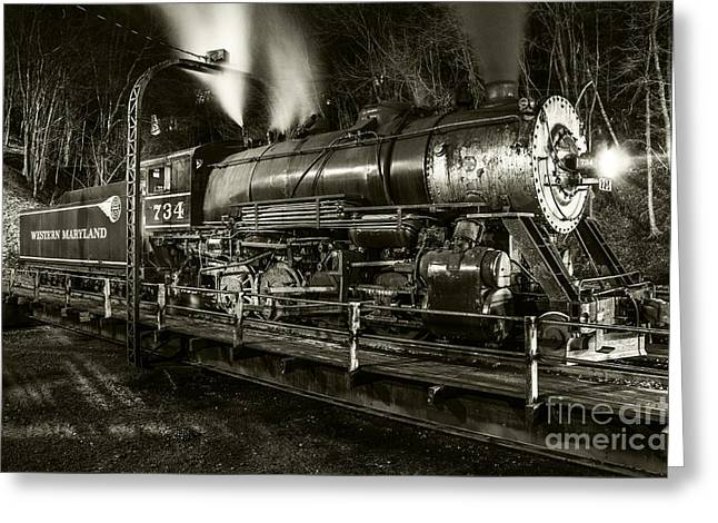 Train Turntable In Frostburg Maryland Greeting Card
