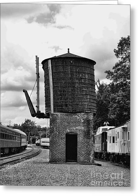 Train - Water Tower -  Black And White Greeting Card by Paul Ward