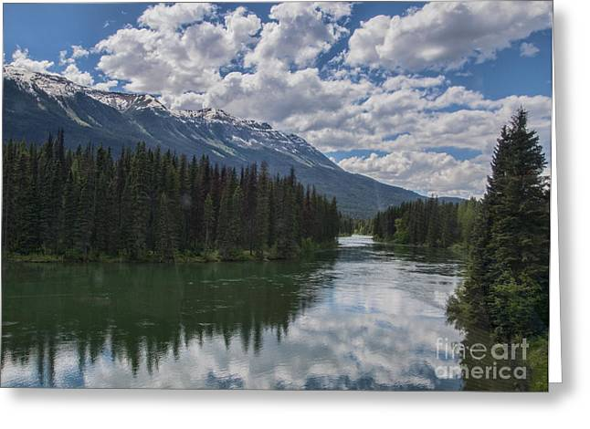Train Window View Of Lake And Canadian Rockies Greeting Card