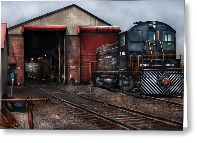 Train - Yard - Strasburg Repair Center Greeting Card by Mike Savad