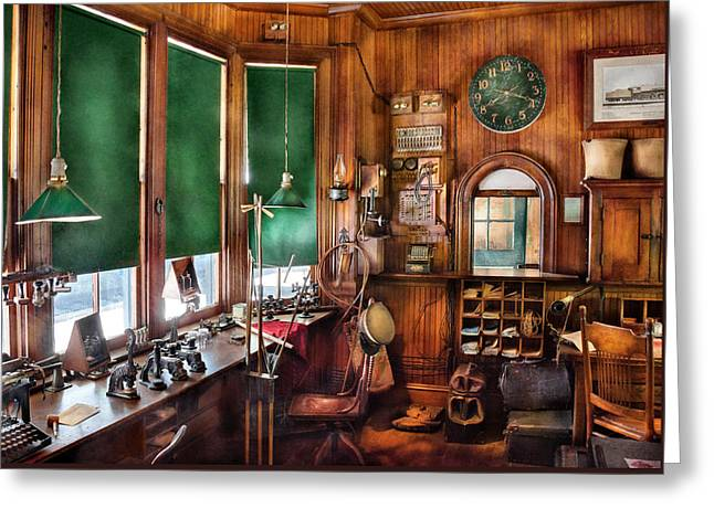 Train - Yard - The Stationmasters Office  Greeting Card by Mike Savad