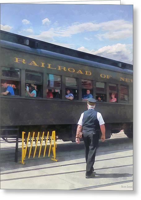 Trains - All Aboard Greeting Card by Susan Savad