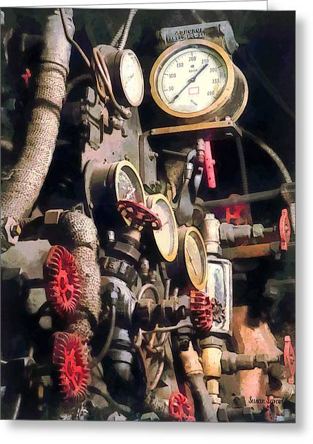 Trains - Inside Cab Of Steam Locomotive Greeting Card by Susan Savad