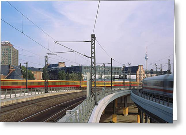 Trains On Railroad Tracks, Central Greeting Card by Panoramic Images