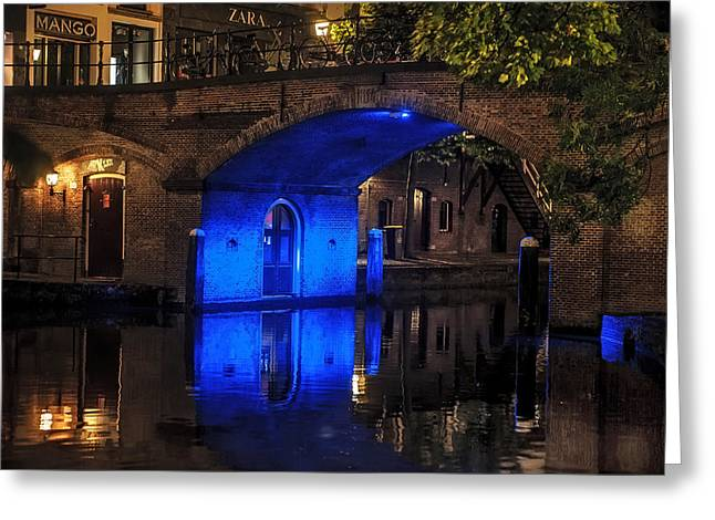 Trajectum Lumen Project. Blue Bridge . Netherlands Greeting Card