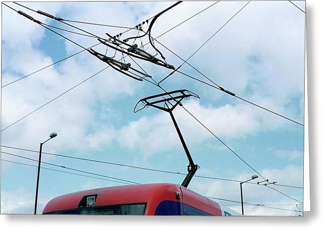 Tram Power Lines Greeting Card