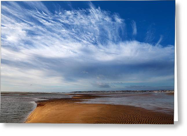 Tramore Strand And Town From The Dunes Greeting Card by Panoramic Images
