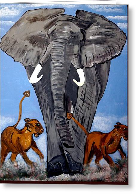 Greeting Card featuring the painting Trampling Elephant by Nora Shepley