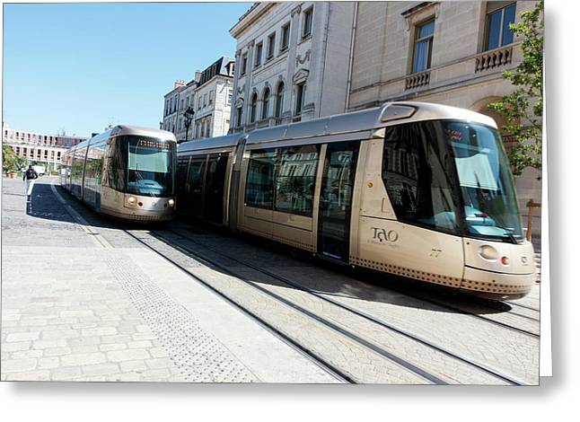 Trams In Orleans Greeting Card by Louise Murray
