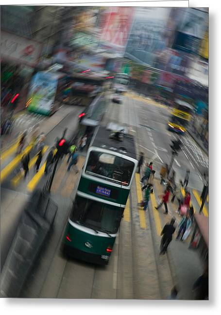Trams On A Road, Hennessy Road, Wan Greeting Card by Panoramic Images