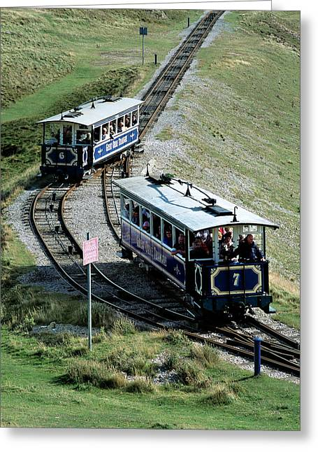 Trams Passing Greeting Card