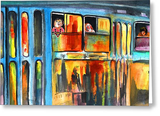 Tramway Travellers In Prague Greeting Card by Miki De Goodaboom
