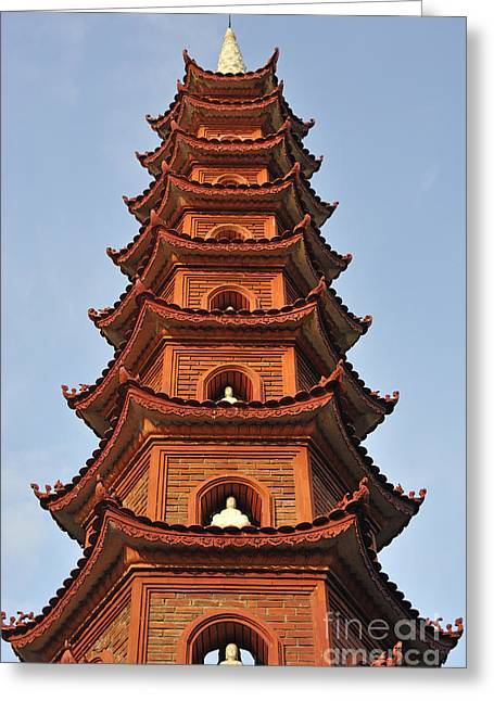 Tran Quoc Pagoda In Hanoi Greeting Card by Sami Sarkis