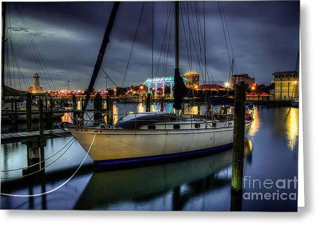 Tranquil Harbour Evening Greeting Card